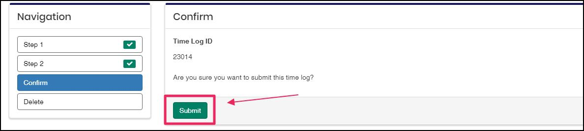image Time Log confirmation highlighting Submit button