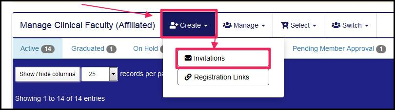 image manage affiliated member highlighting Create button and Invitations button