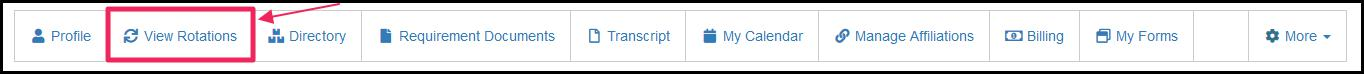 Image pointing to View Rotations tab on features bar of main faculty dashboard