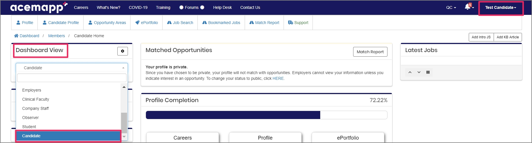 member dashboard view showing Candidate option from drop-down