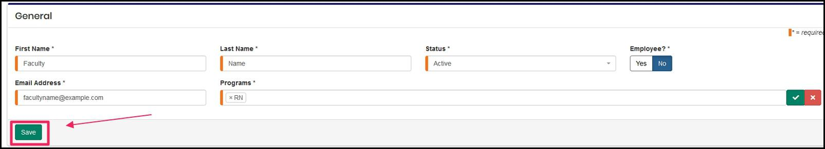 image General form to send an invitation to highlighting Save button