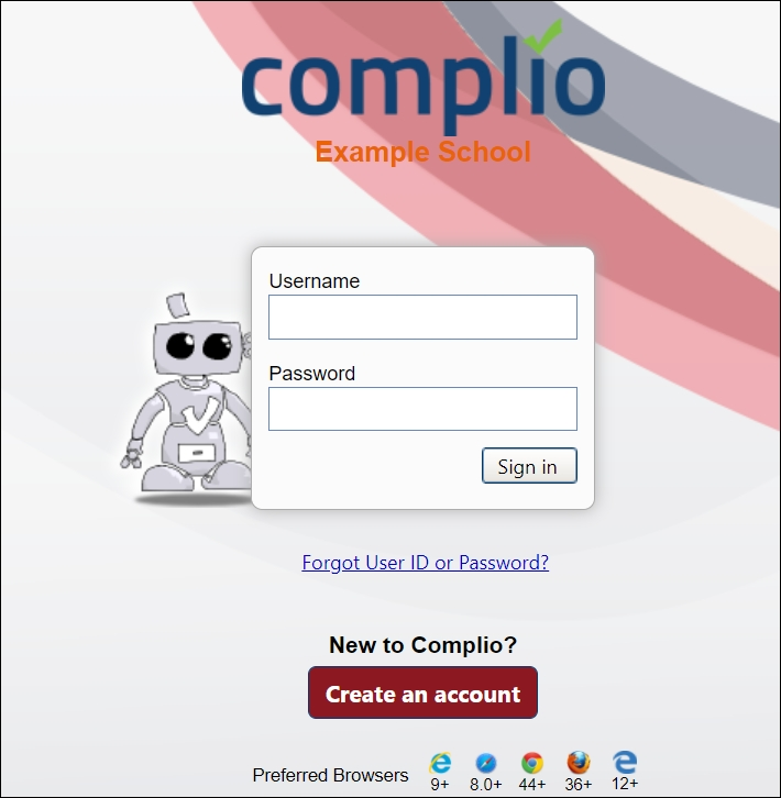 Image showing the Complio login page