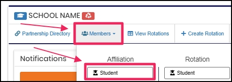Image show members tab and to click students under affiliation