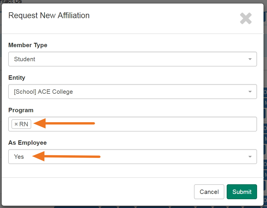 From the Request New Affiliation box, use the drop-down box to make your appropriate selections.