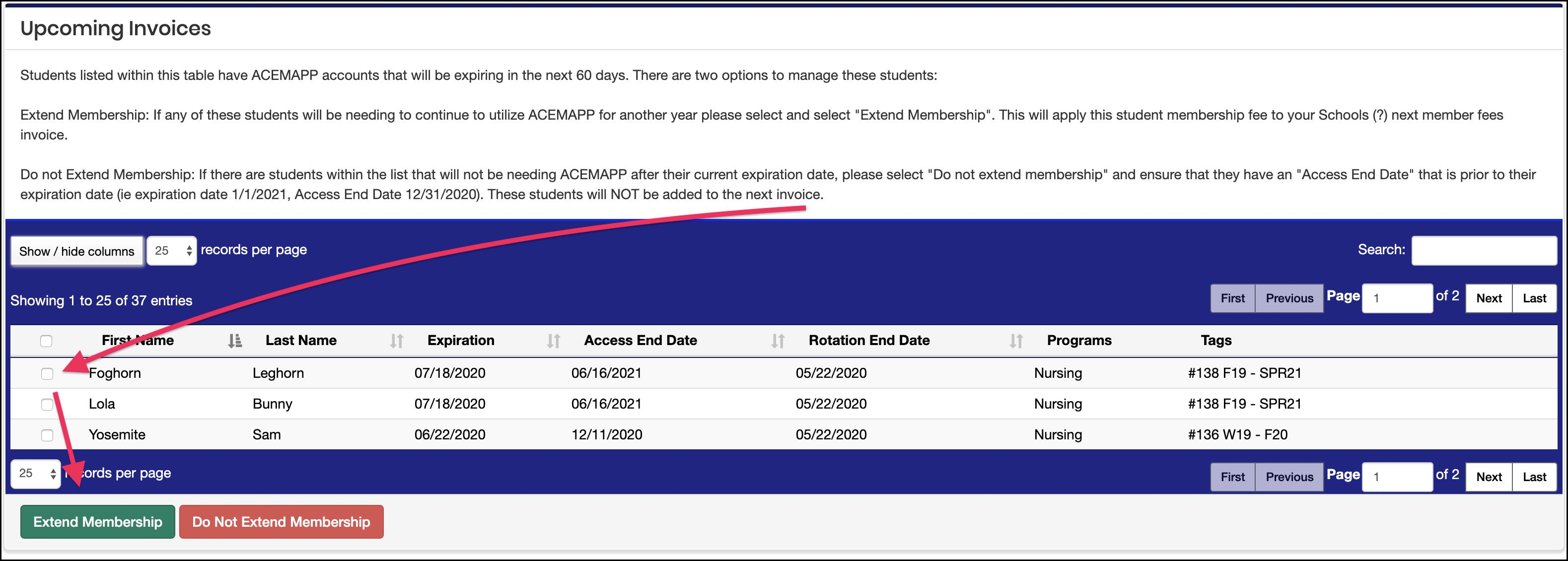 Upcoming Invoices screen example pointing to member selection checkbox and Extend Membership button