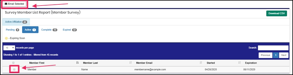 image shows to select to students and click email selected