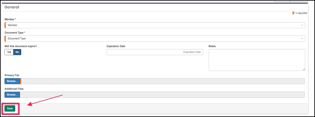 image shows member and document type fields