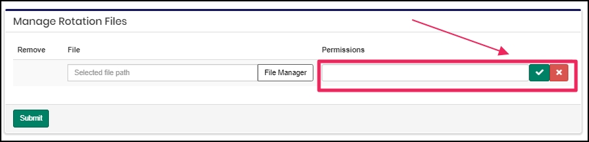 image shows permissions option