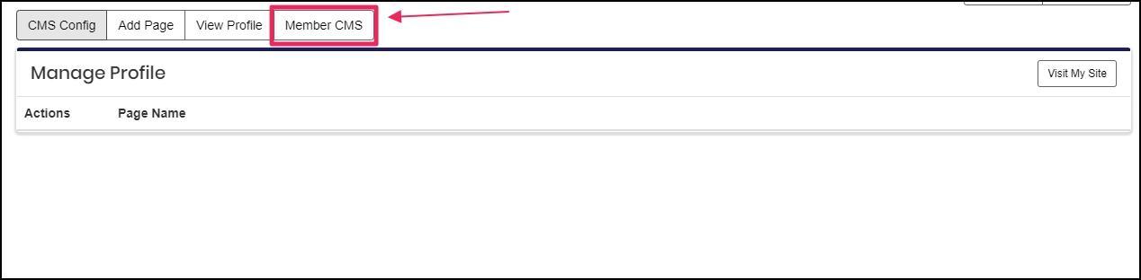 image shows Member CMS tab