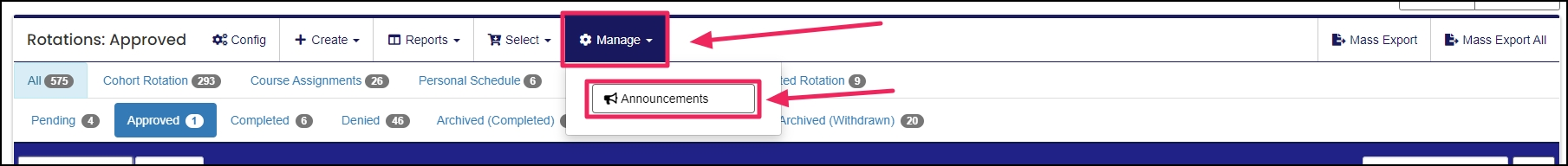 image shows manage tab and announcement drop down