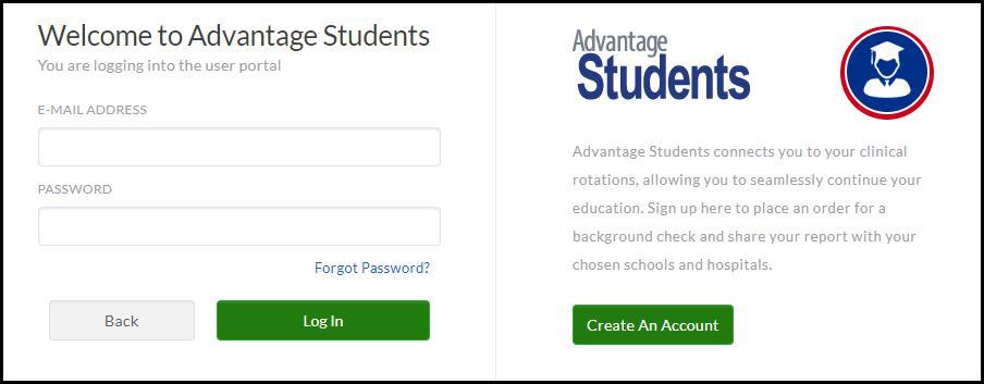 image screenshot Advantage Students welcome screen