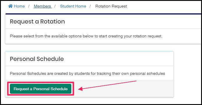 image highlighting Request a Personal Schedule button