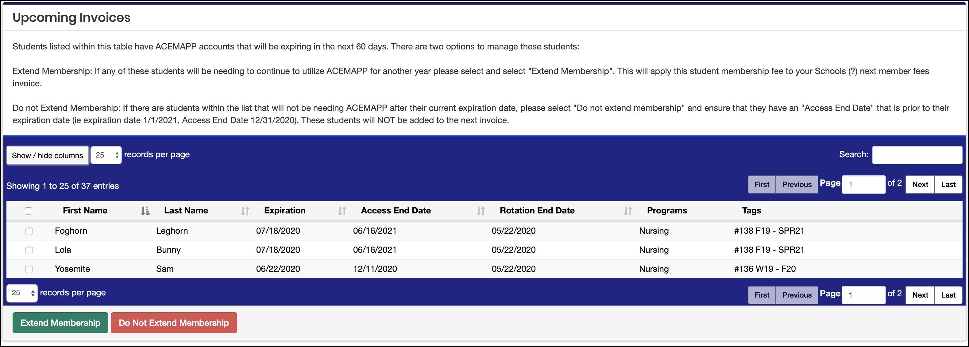 Upcoming Invoices screen example