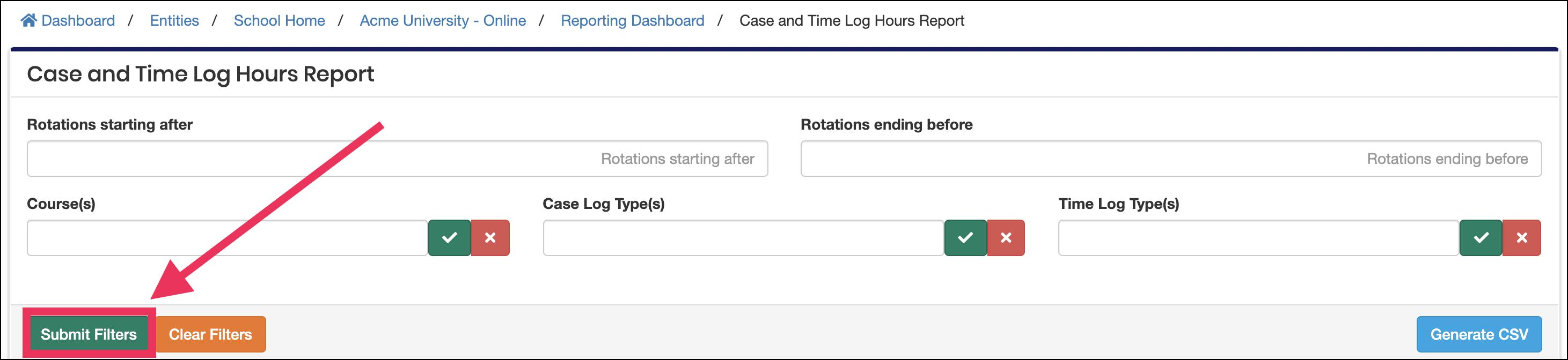 report filter section pointing to Submit button