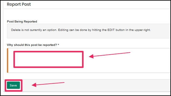image shows reporting comments box