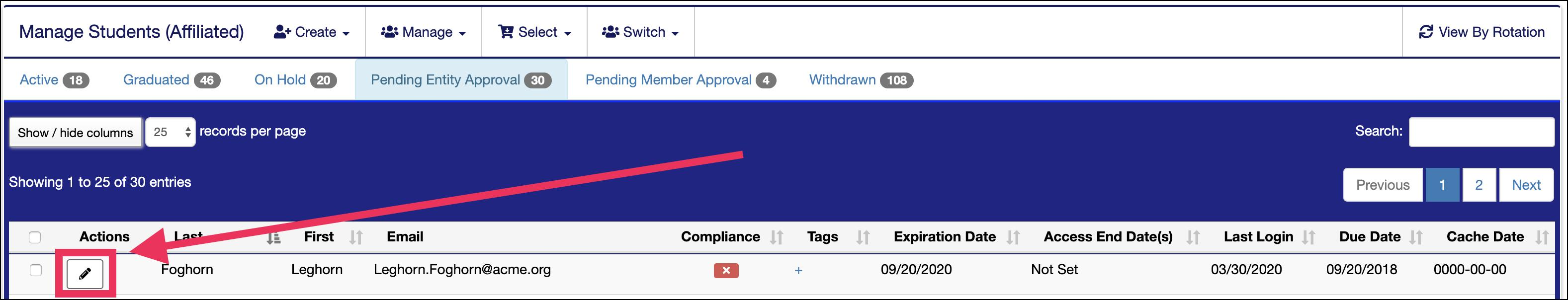 Manage Pending Approval screen pointing to Edit icon