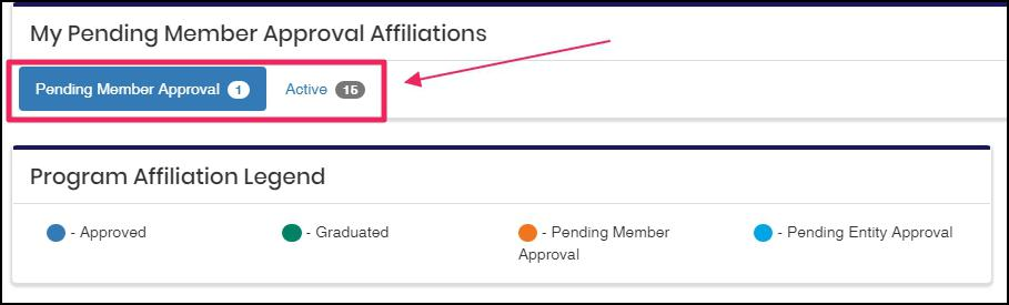 image member affiliations, highlighting Pending Member Approval button and count