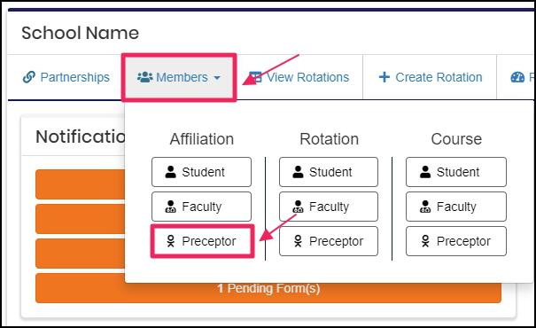 Image pointing to Members tab and preceptor tab on the dropdown menu under Affiliation column