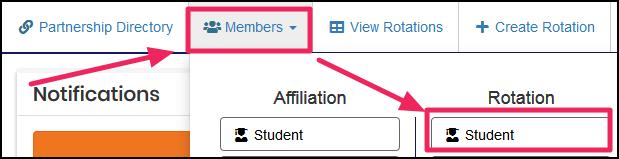 image users dashboard highlighting Members button and then Student button under Rotation