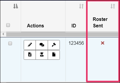 """Box highlighting the """"Roster Sent"""" column on the """"View Rotations"""" page."""
