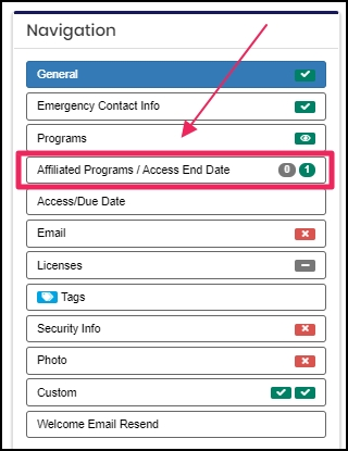 image screenshot Navigation panel pointing to Affiliated Programs / Access End Date