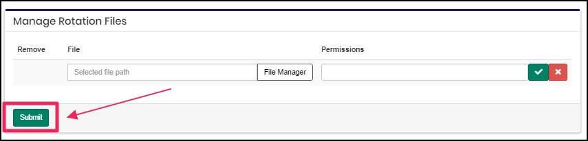 image shows file submit button