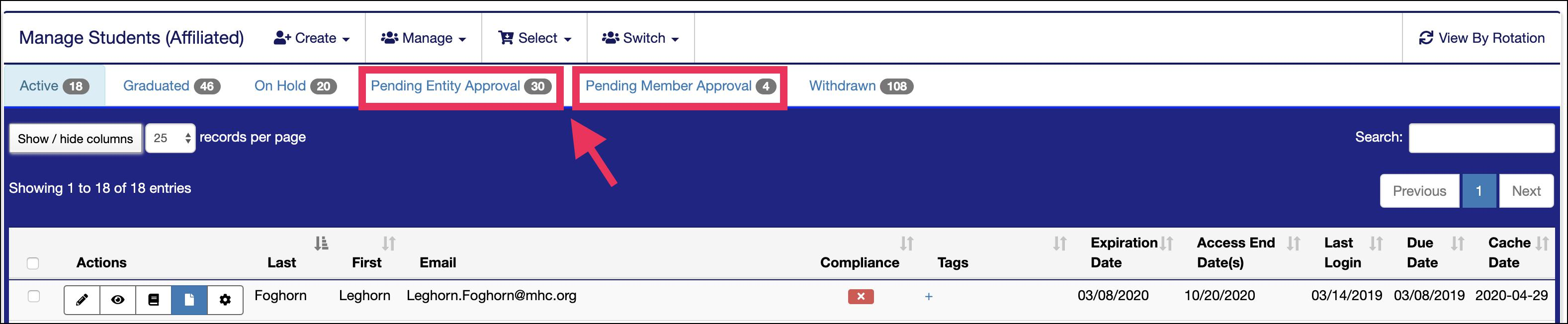 Manage Members page pointing to Pending Approval filter butons