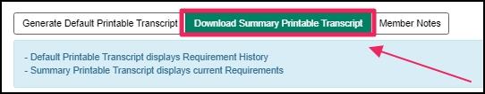 image shows green download transcript button