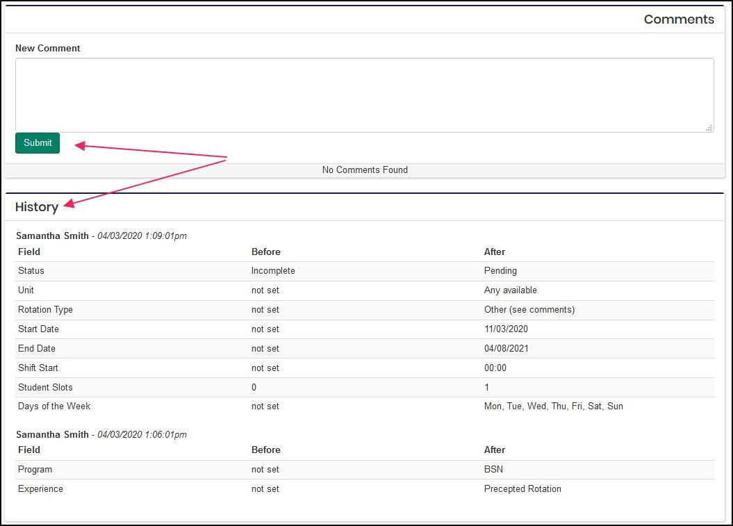 Image show arrows pointing to the submit comment button and the historical audit data of the rotation.