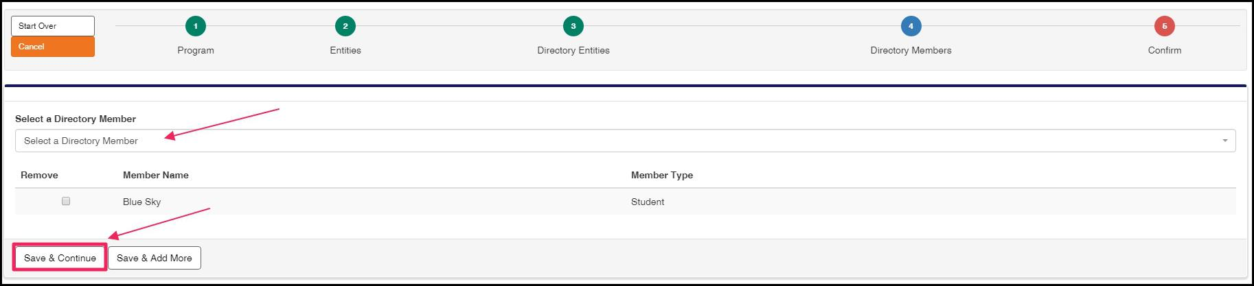 """Click in the Directory Member box to select your preceptor, typically. Then select """"Save & Continue""""."""