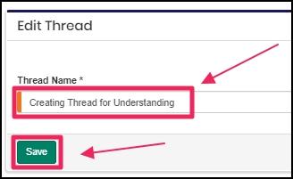 Image shows edit box to edit Thread Name
