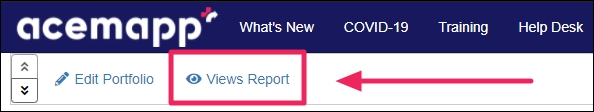 image showing an arrow pointing to the views report button