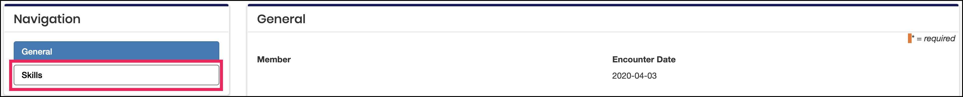 log edit page highlighting skills button on Navigation tile