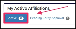 image shows Active affiliations tab