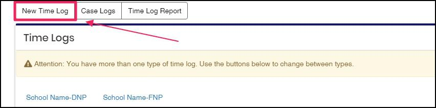 image Time and Case Log button group highlighting New Time Log button