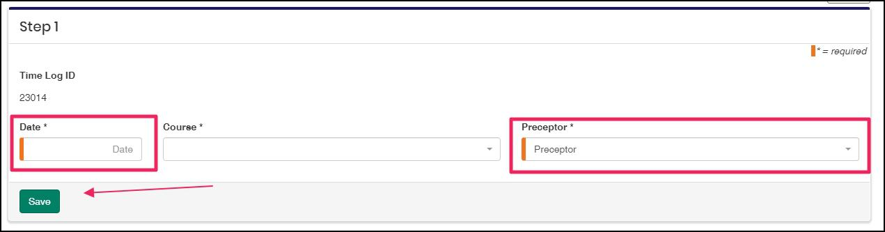 image Time Log edit screen highlighting Date and Preceptor fields