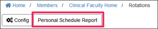 iamge screenshot of rotation table showing Personal Schedule Report button.